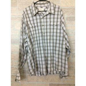 Wrangler Men's Button Shirt Brown Red Plaid 3X